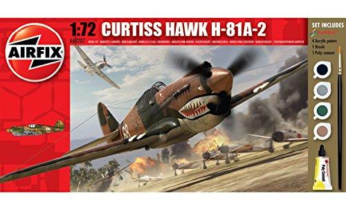 Airfix A68207M Curtiss Hawk H-81A-2 1:72 Military Aircraft Small Starter Gift Set
