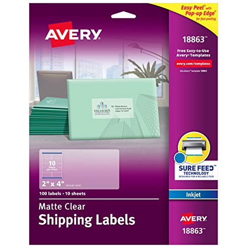 "Avery Clear Easy Peel Shipping Labels for Inkjet Printers 2"" x 4"", Pack of 100 (18863)"