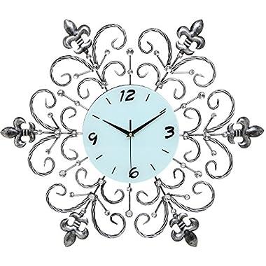 MyGift® Fleur De Lis & Rhinestone Oversized Black & White Metal Wall Analog Clock / Decorative Timepiece