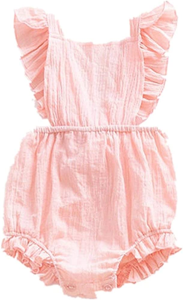 YEXIE Infant Baby Girl Twins Bodysuit Newborn Ruffles Romper Sunsuit Outfit Princess Clothes