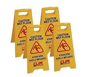 Señal de advertencia de pavimento mojado Clim Profesional®. Pack 4 uds