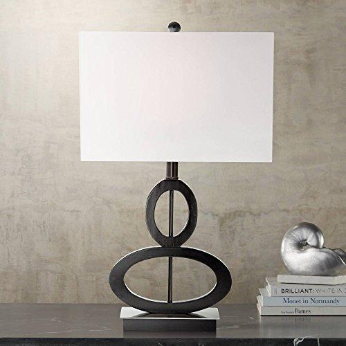 Modern Table Lamp Black Wood and Satin Steel Asymmetrical Ovals White Rectangular Box Shade for Living Room Family Bedroom Bedside - 360 Lighting
