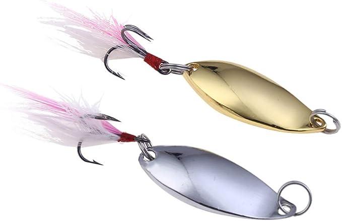 10 Pcs//Set Metal Fishing Baits Metal Dot Pattern Spinner Lures with Hook Uha