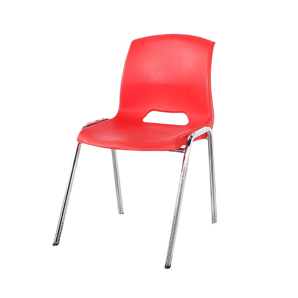 Red Stackable Dining Room Chair, Simple Chair, Casual Dining Chair, Study Chair Meeting, Chair, Staff, Plastic Office Chair, Training Chair (color   White)