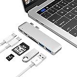 "Aluminum Thunderbolt 3 USB Type-C Hub Adapter Dongle for 2016 MacBook Pro 13"" & 15"". Most Compact, Fastest 50Gbs USB-C Hub. TB3, USB-C, MicroSD/SD, 2USB 3.0(Silver)"