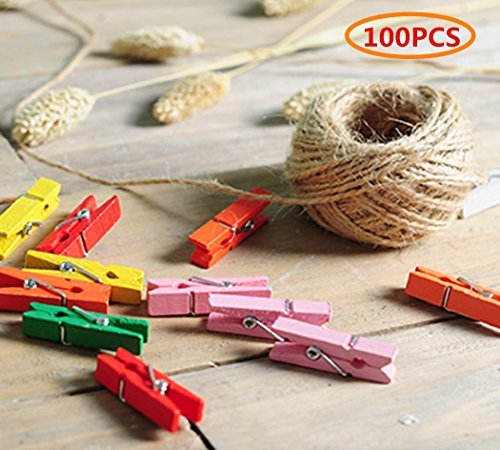 Jefferson Wooden Photo Clips Decoration - for Hanging Photos Pictures Cards and Memos, Ideal gift for Dorms Bedroom Decoration,100 Pieces DIY Clips with String
