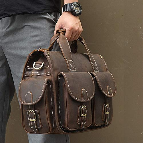 ブリーフケース 男性と女性の革のブリーフケースレトロなビジネスバッグラップトップブリーフケースを適用します。 メンズブリーフケース (Color : Brown, Size : 34.5x16x29cm)