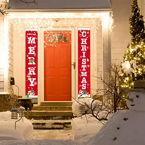 Christmas Porch Sign, Welcome and Merry Christmas Hanging Banners for Holiday Party Home Indoor Outdoor Porch Wall Christmas Decoration (Decorations Home Outdoor)