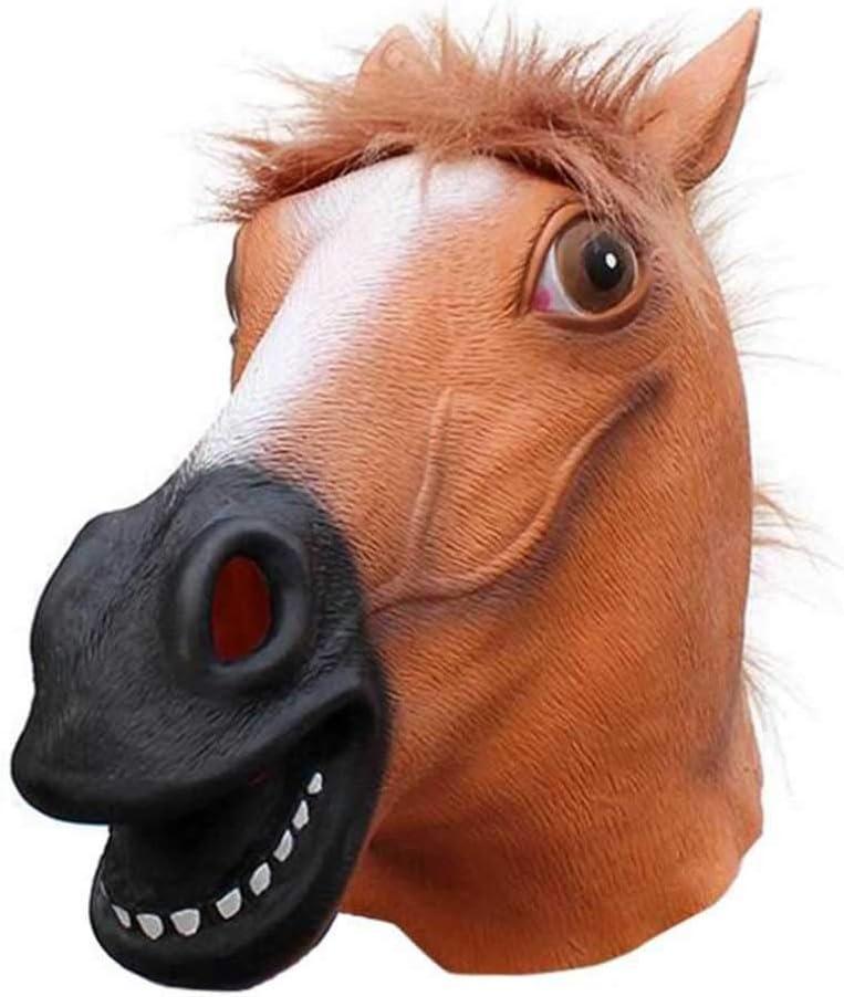 HTQ Máscara Halloweenmáscara de látex Material Animal Cabeza de Caballo Máscara Sombrero (Color : A, Size : A)