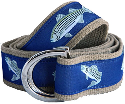 Striped Ribbon Belt (No27 Men's Striped Bass Nautical Belt Small Striped Bass Ribbon on Khaki)