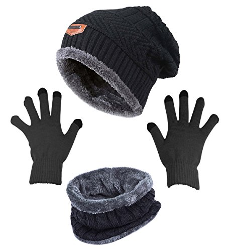 Winter Beanie Hat Scarf Gloves Slouchy Snow Knit Skull Cap Infinity Scarves Touch Screen Mittens for ()