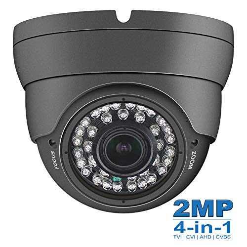 Anpviz 2MP Analog CCTV Camera HD 1080P 4-in-1 (TVI/AHD/CVI/CVBS) Dome Security Camera, 2.8-12mm Varifocal Wide Viewing Angle Weatherproof indoor outdoor Eyeball Camera for Home Video Surveillance Grey