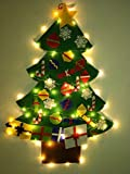 NIGHT-GRING 3.2 Ft felt Wall Hanging Christmas Trees set with 50 LED Lights Christmas Tree xmas Ornaments