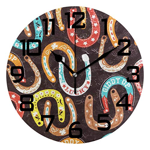 Cowboy Horseshoes Round Acrylic Wall Clock, Silent Non Ticking Battery Decorative Home Kitchen Classroom Office School