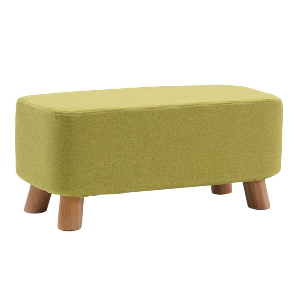 A 60x28x25cm Footstool Solid Wood Multifunction Rectangle Cloth Change shoes Bench Household Low Stool, 5 colors 3 Sizes GFMING (color   A, Size   80x28x25cm)