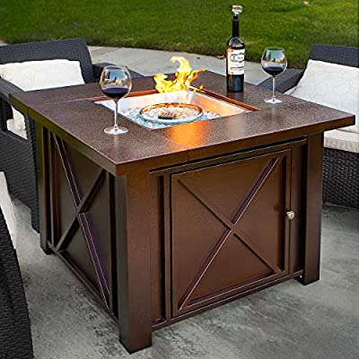 XtremepowerUS Premium Outdoor Patio Heaters LPG Propane Fire Pit Table Adjustable Flame Hammered Bronze Steel Finish