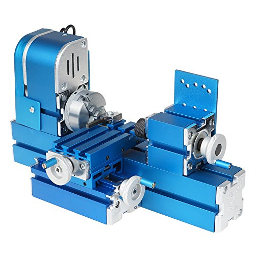 UCONTRO 12W DIY Mini Metal Wood Turning Lathe Machine Model Tool Woodworking Power Tool Machinery AC100~240V with Three-jaw Chuck for Hobby Sience Education Modelmaking