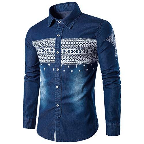 Azul Delgados Denim Retro Largos Tops Camisas Blusa de Hombres Delgados Oscuro Vaqueros MISSMAOM wB1PvqRTR