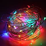 String Lights Battery Operated,Bienna [Waterproof] 100 LED 33ft/10M Copper Wire Starry Fairy Lighting for Outdoor Bedroom Indoor Patio Home Cafe Christmas Xmas Tree Holiday Wedding Party-Multi Color