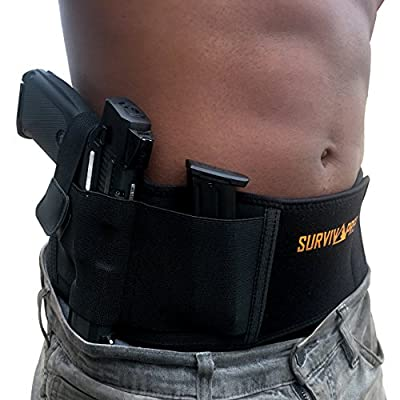 Belly Band Concealed Carry Right Handed Holster for Women and Men, Tactical Gun Holster Fits and Conceals All Subcompact Compact and Full Size Pistols, Elastic Conceal Carry Belt, Neoprene, IWB