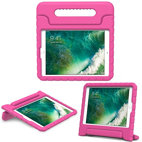 MoKo Case for iPad 9.7 2018/2017 - Kids Friendly Shock Proof Convertible Handle Light Weight Protective Stand Cover for Apple iPad 9.7 Inch 2018/2017/iPad Air/iPad Air 2 Tablet, MAGENTA