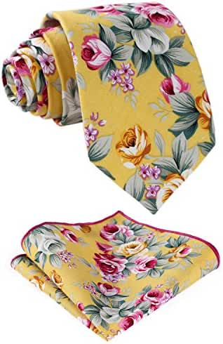 HISDERN Men's Cotton Floral Necktie Set