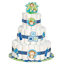 Boy Monkey Baby Shower Diaper Cake Kit, 25pc