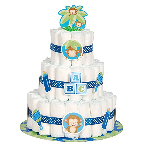 Boy Monkey Baby Shower Diaper Cake Kit, (Baby Shower Cake Decoration)