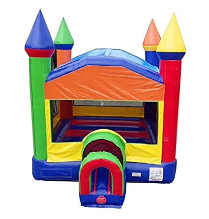 Prime Rainbow Bounce House 14 Foot Long By 14 Foot Wide By 16 Foot Tall With Tunnel Entrance Modular Inflatable Commercial Backyard Bouncer Includes 1 0 Home Interior And Landscaping Ferensignezvosmurscom