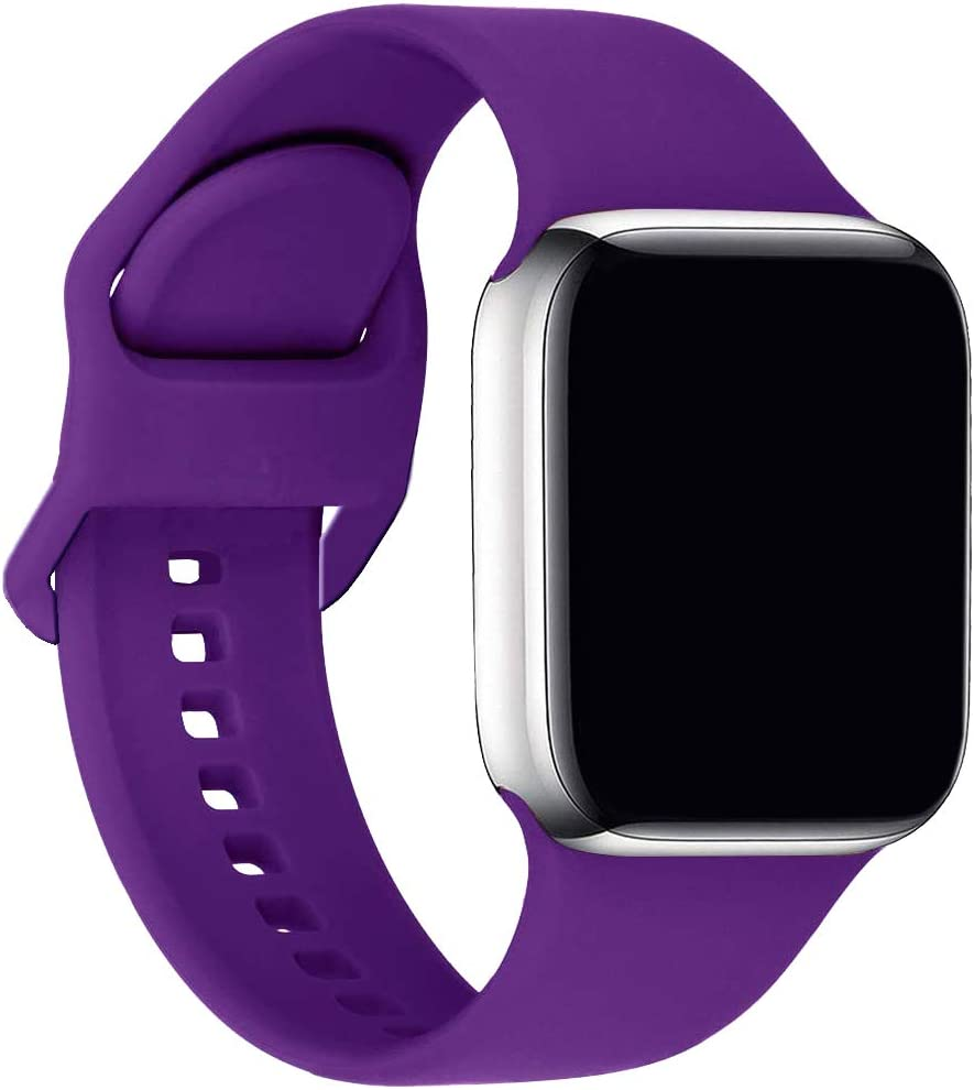 ic6Space Bands Compatible with Apple Watch Series SE/6/5/4/3/2/1, Soft Silicone Sports Replacement Band for iWatch 38mm 42mm 40mm 44mm (Purple, 42mm/44mm-M/L)