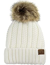 74228792c70 Thick Cable Knit Faux Fuzzy Fur Pom Fleece Lined Skull Cap Cuff Beanie