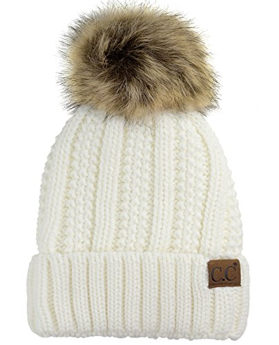 C.C Thick Cable Knit Faux Fuzzy Fur Pom Fleece Lined Skull Cap Cuff Beanie, Ivory