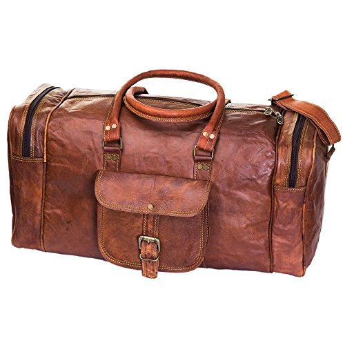 Handmade Leather Travel Duffle Bag Vintage Style Overnight Bag Size 20 Inch by Urban Leather