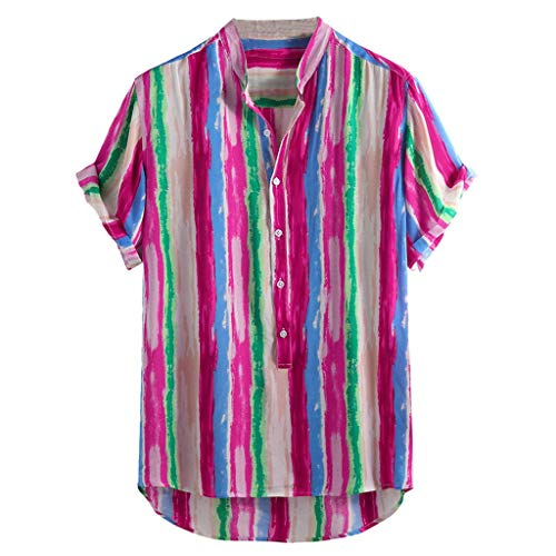 JJLIKER Men's Colorful Striped Henley Shirt Casual Button Down Short Sleeve Hawaiian Stand Collar Shirts Hot Pink