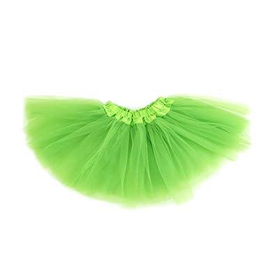 GOGO TEAM Girl's Tutu Skirt Ballet Dance Skirt Party Fairy Costume Skirt-Green: Clothing