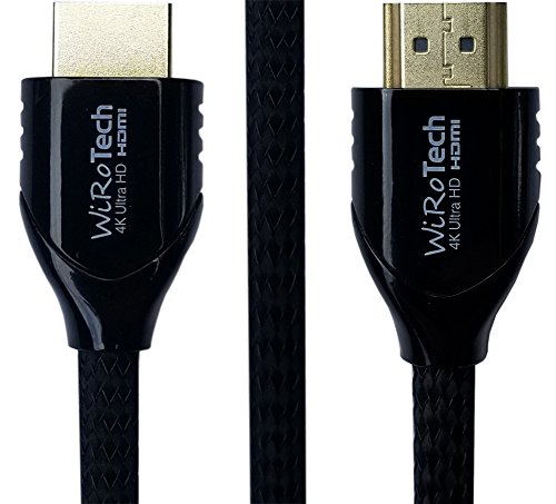 WiRoTech HDMI Cable 4K Ultra HD with Braided Cable, HDMI 2.0 18Gbps, Supports 4K 60Hz, Chroma 4 4 4, Dolby Vision, HDR10, ARC, HDCP2.2 (10 Feet, Black)