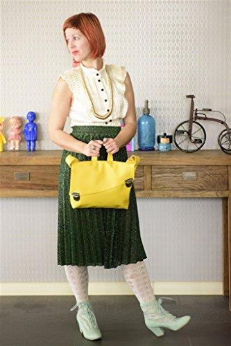 Handmade Designer Yellow Satchel Style Vegan Bag - Over the (Attention Satchel)