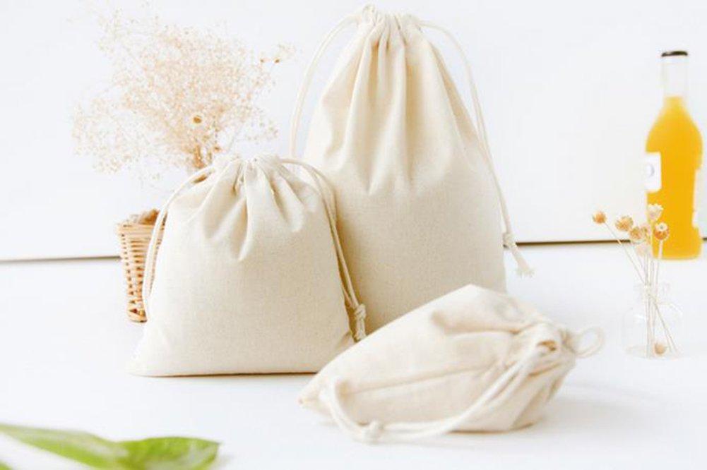 Hosaire 3pcs//lot Custodia in Cotone e Lino pratica borsa bagagli Bianco Organizzatore dei viaggio borsa pochette con cordino