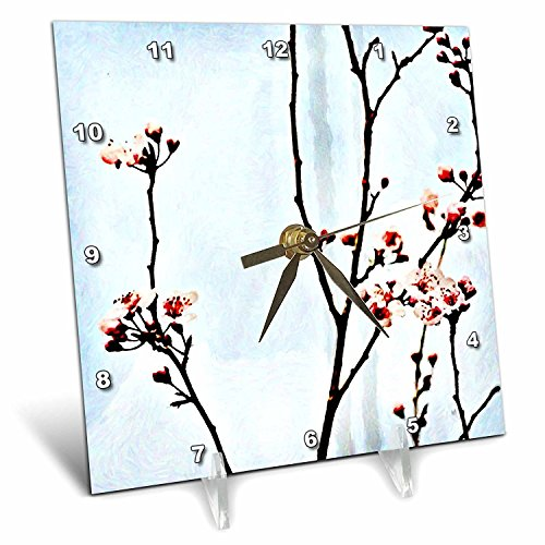 - 3dRose dc_59047_1 Into a Blue Sky Spring Cherry Blossoms Floral Print Desk Clock, 6 by 6-Inch