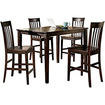 brown 5 piece counter height dining table and chairs set table chair sets. Black Bedroom Furniture Sets. Home Design Ideas
