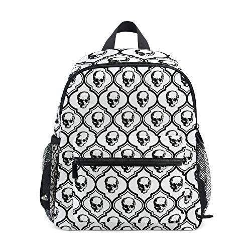 French Skulls Bone Hipster Halloween Kid Backpack 12 inch Toddler Bookbag Travel School Bag