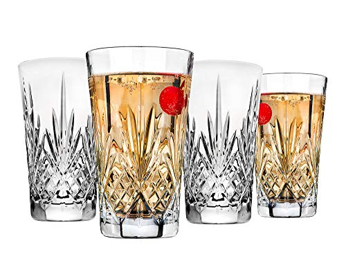 Crystal 12 Ounce Tumblers - Godinger Beverage Tumbler Glasses All Purpose Highball - Dublin Collection, 12oz, SET OF 4