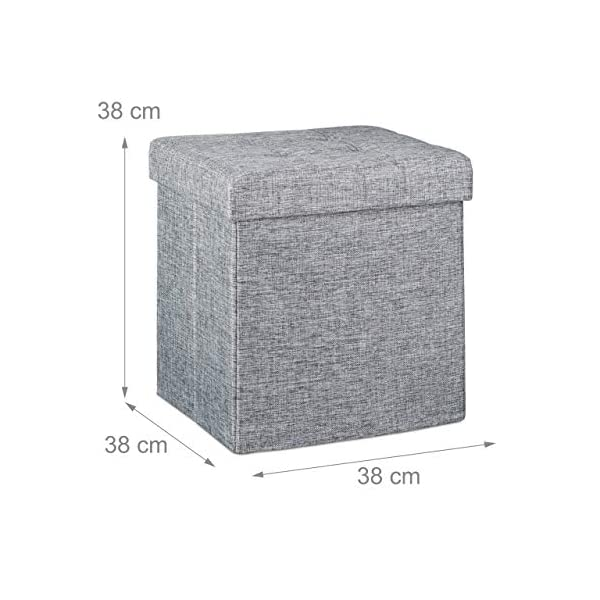 Relaxdays 10019047 Tabouret pliant en lin pouf de rangement pliable repose-pieds de stockage carré 38 x 38 x 38 cm avec couvercle amovible assise table appoint ottoman coffre chaise banquette, gris