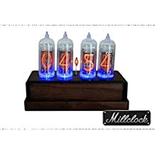 IN-14 NIXIE TUBE CLOCK ASSEMBLED WOOD AND BLACK ACRYLIC ENCLOSURE AND ADAPTER 4 tubes by MILLCLOCK