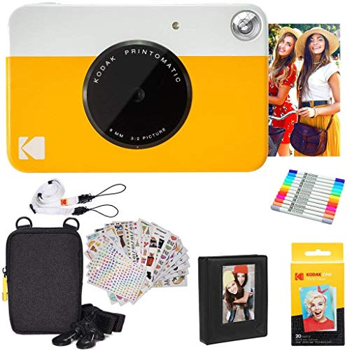 Kodak Printomatic Instant Camera (Yellow) Gift Bundle + Zink Paper (20 Sheets) + Deluxe Case + 7 Fun Sticker Sets + Twin Tip Markers + Photo Album + Hanging Frames + Comfortable Neck Strap