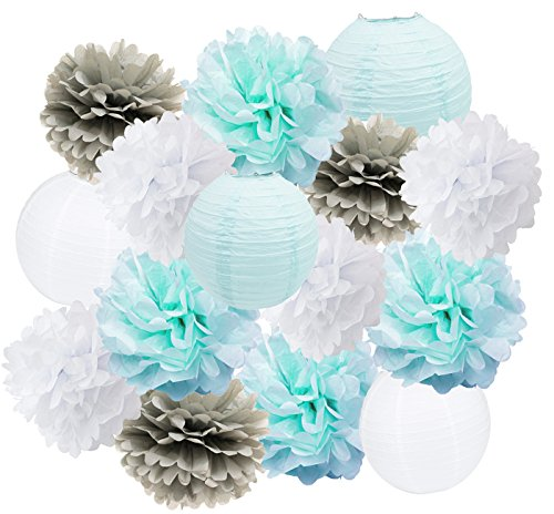 Furuix Blue Grey Birthday Party Decorations 16 pcs White Blue Grey 10inch 8inch Tissue Paper Pom Pom Paper Lanterns for Frozen Themed Party Bridal Shower Decor Boy Baby Shower Decoration