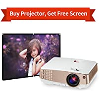 Portable LED Projector 2600 Lumen Support HDMI 1080P HD Projector Mini LCD TFT Display 130 for Home Entertainment Android Smartphone Apple Products with USB/HDMI/VGA/AV/Audio 1024x600 Resolution