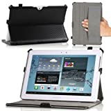 MoKo Slim-Fit Cover Case Folio for Samsung Galaxy Tab 2 10.1, Carbon Fiber BLACK (with Built-in Multi-Angle Stand)