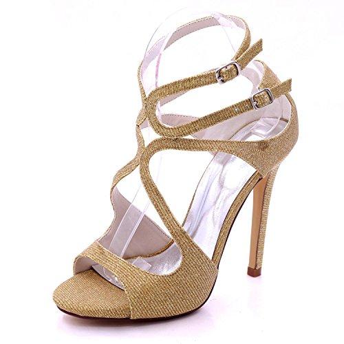 YC Wedding D7216 Bridesmaid Shoes Court Women's Prom Golden Toe 06C Open Sizes Heel Sandals High L 0dBq0