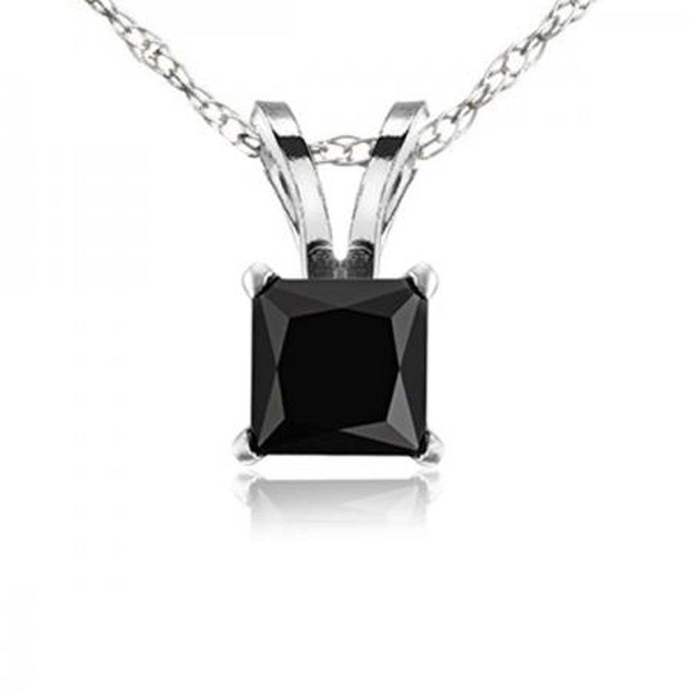 1.00 Carat (ctw) 10K White Gold Princess Cut Black Diamond Ladies Solitaire Pendant 1 CT